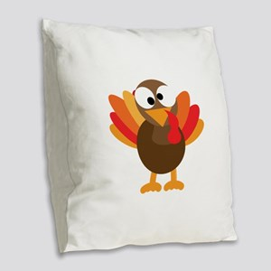 Funny Turkey Burlap Throw Pillow